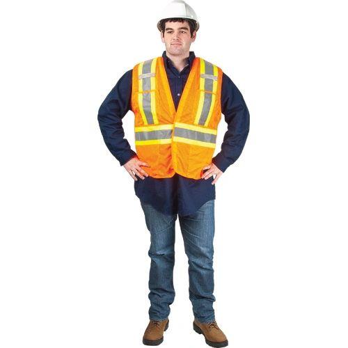 SEF101 Traffic Vest, CSA Compliant Surveyor ORANGE ZENITH (Med-XXL) Distancing