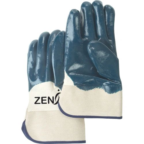 SAN447 Heavyweight Nitrile PALM 1/2 Coated Safety Cuff 100% COTTON LINING (Sz's 10-11) ZENITH