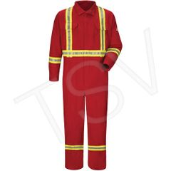 SDS741 Flame-Resistant Deluxe Coveralls with Reflective Trim Colour: Red Arc Rating: 5.6 cal/cm² Standard(s) Met: NFPA 70E/NFPA 2112 BULWARK #CNBCRD-RG