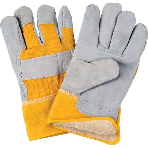 SD614 Boa Lined Split Cowhide Fitters Acrylic Gloves, LARGE Yellow Back