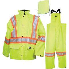 SAR223 Storm Suit SET Rainsuit Jacket/Hood/Pants LIME REFLECTIVE STRIPES Class 2 (3 W/PANTS) SML-3XL HELLY HANSEN #R803