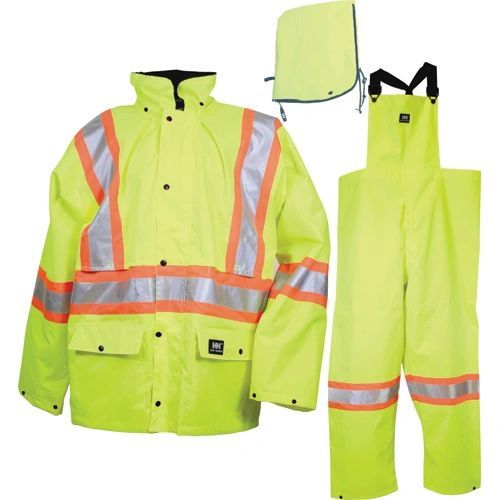 SAR223 Storm Suit SET Rainsuit Jacket/Hood/Pants LIME REFLECTIVE STRIPES Class 2 (3 W/PANTS) SML-3XL HELLY HANSEN #R803