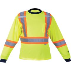"""SDP397 Safety Long Sleeve Shirt Dual chest straps 2"""" Reflective on 4"""" Contrasting tape High Visibility Lime/Yellow VIKING #6015G"""