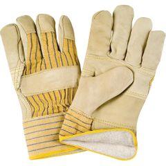 SR521 Cotton Fleece Lined Grain Cowhide Fitters Patch Palm Gloves, LARGE ZENITH (XL-2XL)
