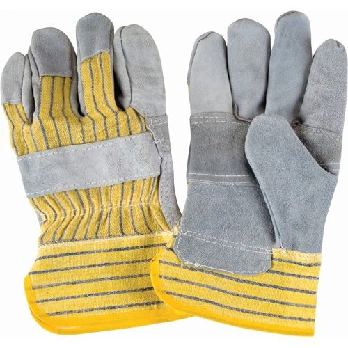 SAP225 Superior Quality Split Cowhide Patch Palm Fitters Gloves, Striped Cuff, LARGE