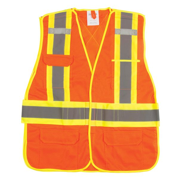 "SGF136 Flame-Resistant High Visibility Vest 5-Point Tear-Away 4"" Yellow/Silver Reflective Stripes (M-2XL) ZENITH"