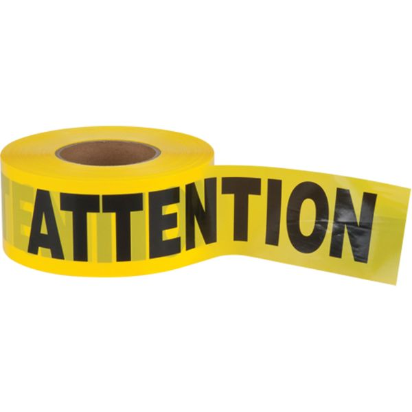 "SEK401 Barricade Tape ATTENTION 2mil Thick 3""Wx1000'L Black on Yellow HVY-DUTY ZENITH"