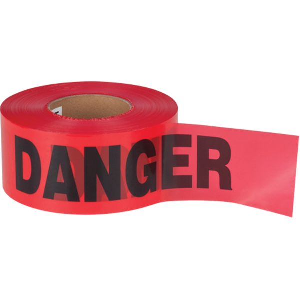 "SEK402 Barricade Tape DANGER 2mil Thick 3""Wx1000'L Black on RED HVY-DUTY ZENITH"