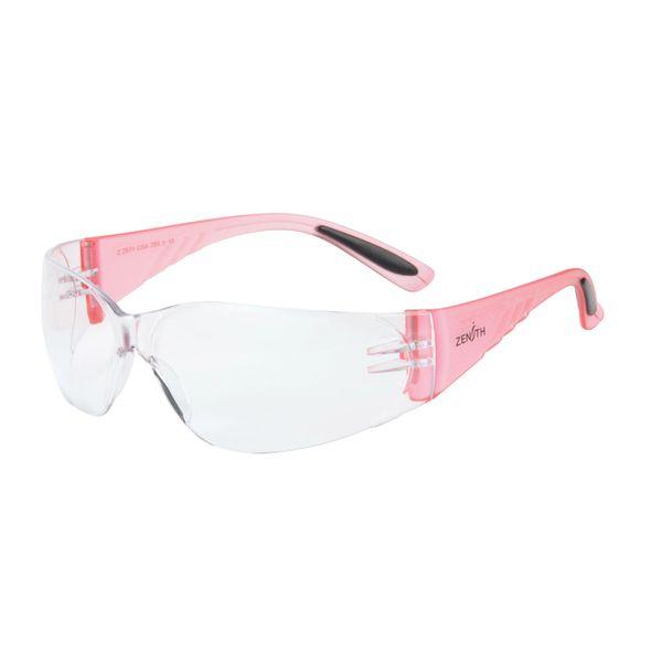 SGF152 Eyewear Safety Glasses CLEAR LENS Anti-Fog/Anti-Scratch Pink Sides #Z2600 Series ZENITH