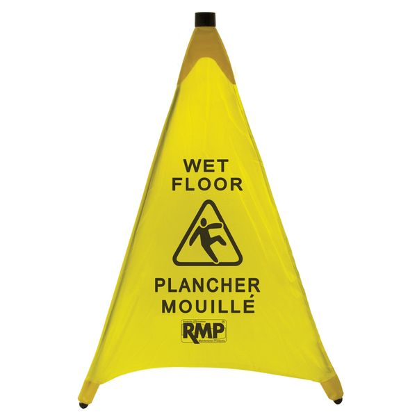 "JI455 Bilingual Pop-Up Safety 30"" Cone ""Wet Floor"" Yellow RMP"