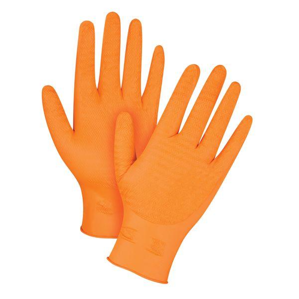 "SGC404 Heavyweight Ultra Gripper Orange 8MIL Nitrile Gloves 9.5""L 100/BX (Sz Med-2XL) ZENITH"