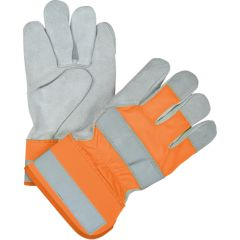 SEK236 Premium Quality High Visibility Split Cowhide Fitters Gloves LARGE ORANGE ZENITH