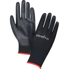 SAX694 Lightweight Polyurethane Palm Coated Gloves 13GAUGE Knit wrist Black Dry Grip (XS-2XL) ZENITH