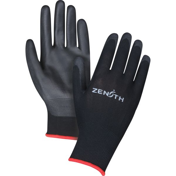 SAX694 Lightweight Polyurethane Palm Coated Gloves 13GAUGE Knit Wrist Dry Grip (XS-2XL) ZENITH COLOR: BLACK