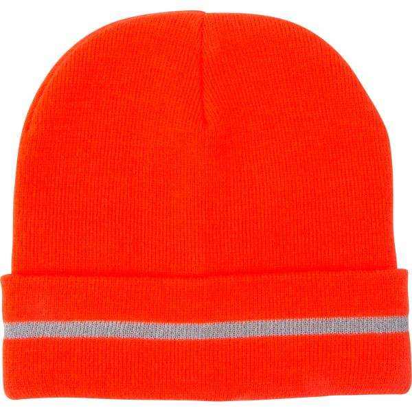 SGI135 High Visibility ORANGE Knit Hat with Reflective Stripe (Black Available)