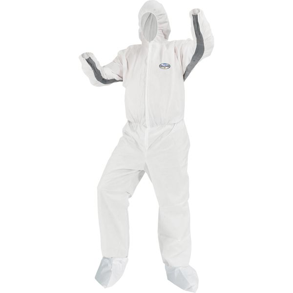 SAR359 Kleenguard SMS Hooded/Booted A30 Coveralls iFlex Design Breathable/Splash/Particle Protection MED