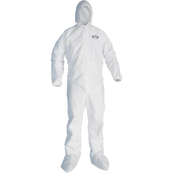SAQ404 Kleenguard SMS Hooded/Booted A30 Coveralls Breathable/Splash/Particle Protection (MED-4XL) #4166