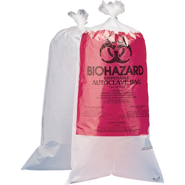 "SAM051 Biohazard Disposal Bags 12""X24"" X-STRONG (1.5ML) CLEAR 100/BAG #131600005 BEL-ART"