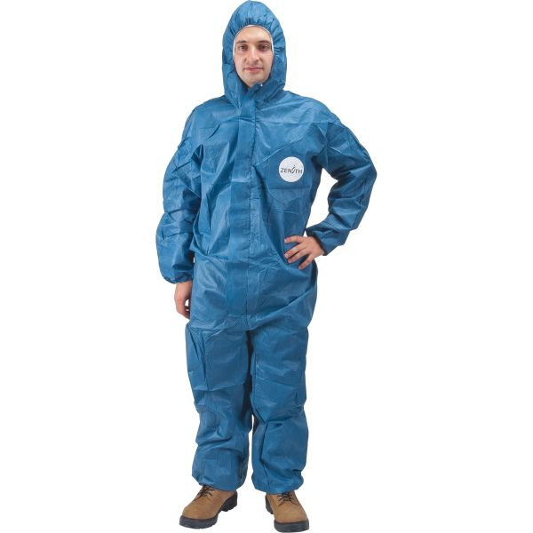 SEC847 COVERALLS, PROTECTIVE SMS BLUE HOODED (MED-4XLR) ZENITH SAFETY