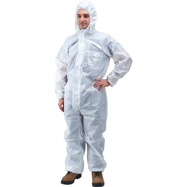 SEC841 COVERALL, PROTECTIVE SMS HOODED WHITE (MED-4XLR) ZENITH SAFETY