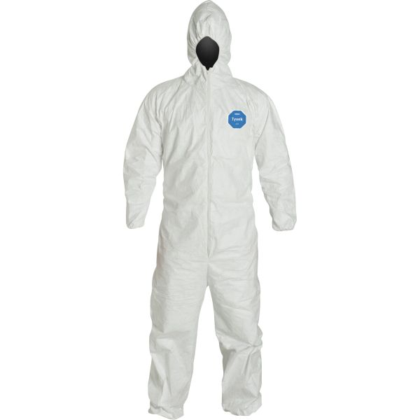 SAS042 COVERALLS, Tyvek® 400 Series ASTM VIRAL RESISTANT PROTECTION Hooded Coveralls #TY127S DUPONT (MED-4XL)