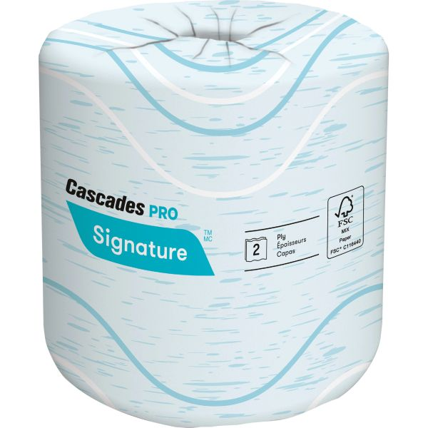 JL047 Toilet Paper 2PLY x 133' x 400SH PREMIUM BIODEGRADABLE #B625 CASCADES PRO SIGNATURE 48/CS WHITE