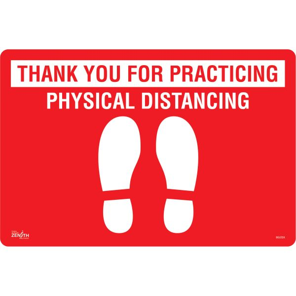 "SGU324 ""Thank You for Practicing Physical Distancing"" Vinyl Flat Floor Sign 12"" x 18"" ADHESIVE ZENITH"