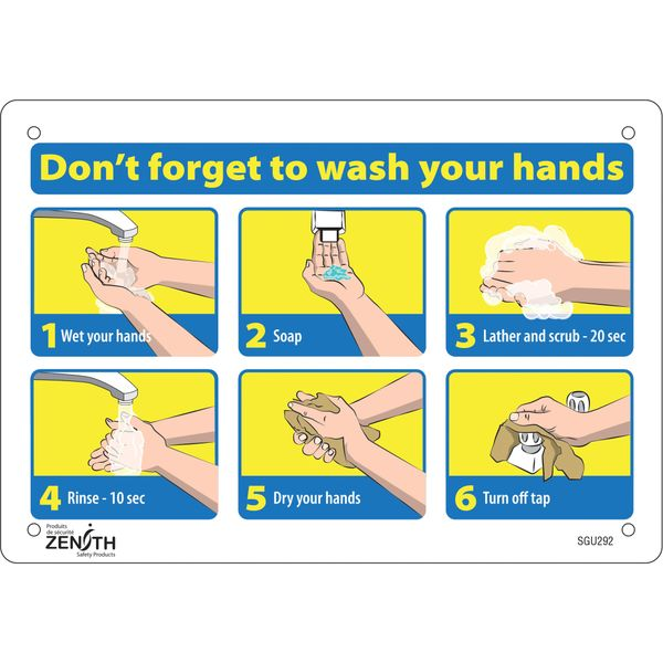 "SGU292 ""Don't Forget to Wash Your Hands"" Pictogram Sign 7""H x 10""W Bolt-On Aluminum ZENITH Distancing"