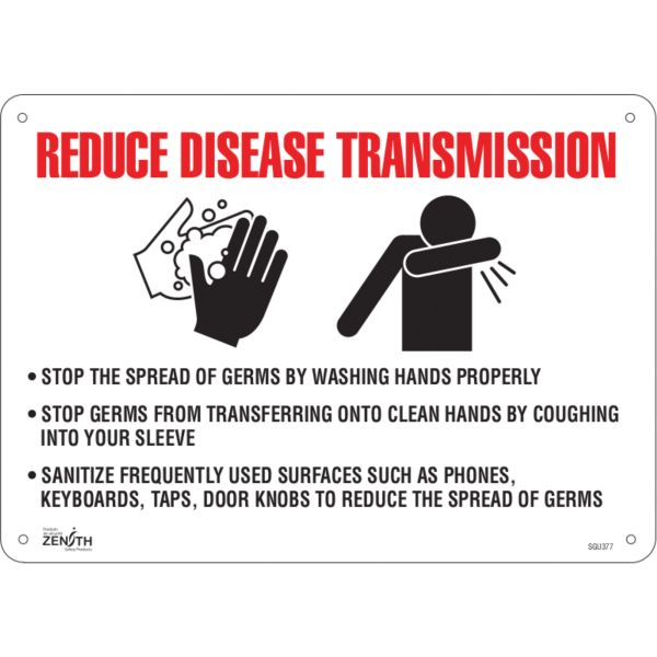 "SGU377 ""Reduce Disease Transmission"" Sign 10""H x 14""W Bolt-On Aluminum 0.04""THICK ENGLISH ZENITH Distancing"