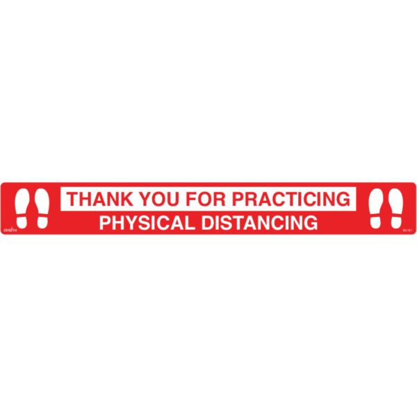 "SGU381 ""Physical Distancing"" FLAT Floor Sign 3""H x 24""W Vinyl ADHESIVE 0.02"" THICK ENGLISH ZENITH"