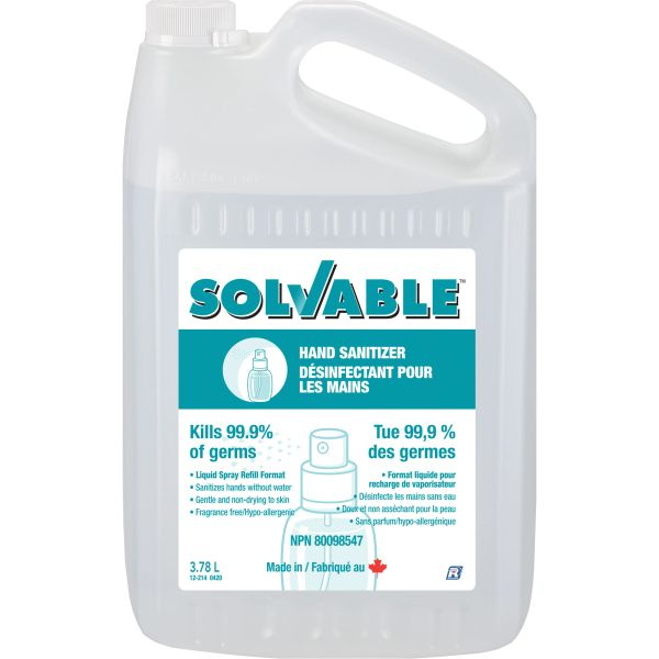 SGU395 Solvable Liquid Hand Sanitizer (No Water Required) 3.78 L/BTL Ethyl 70% ALCOHOL Unscented #12-214 RECOCHEM