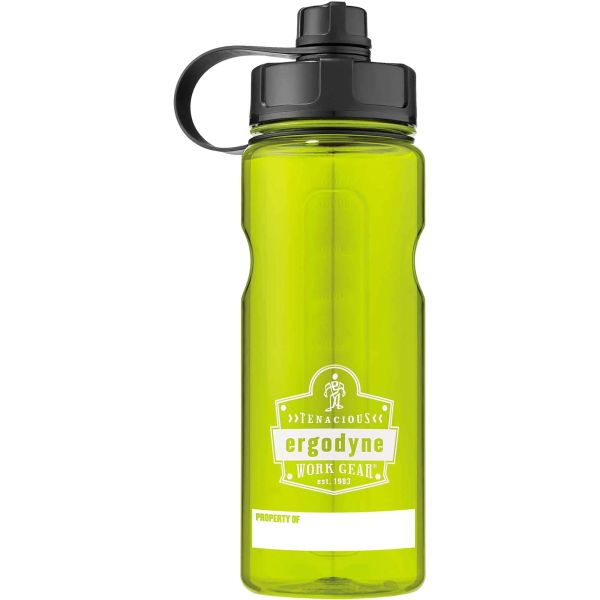 SEL887 Chill-Its® 5151 100% BPA-Free Plastic Water Bottle 34 oz./1000 ml Carry-loop ERGODYNE (Lime/Org/Grey/)