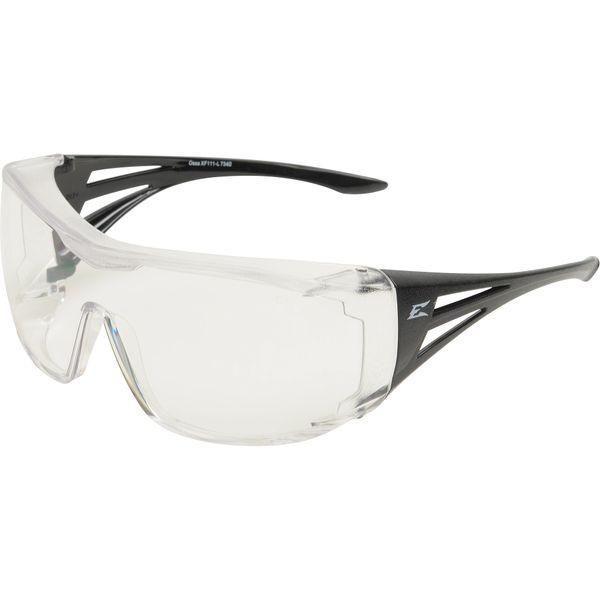 SEG843 Safety Glasses Ossa CLEAR LENS/BLACK FRAME #XF411-L Blocks 99.9% of UVA/UVB/UVC rays Over Prescription Glasses (OPG) EDGE SAFETY EYEWEAR
