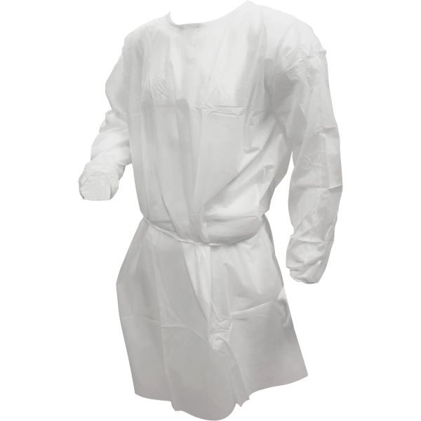 SGU408 Isolation Gown Polypropylene White Weight 0.88oz/m² (30 g/m²) One Size (Individually Sold)