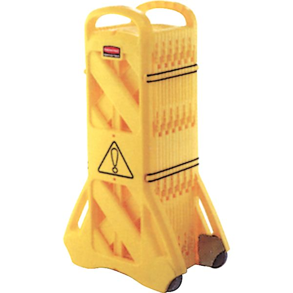 "SAJ714 Portable Mobile Barriers Plastic Yellow Height 40"" Extended Length13' Length13"" RUBBERMAID #FG9S1100YEL"