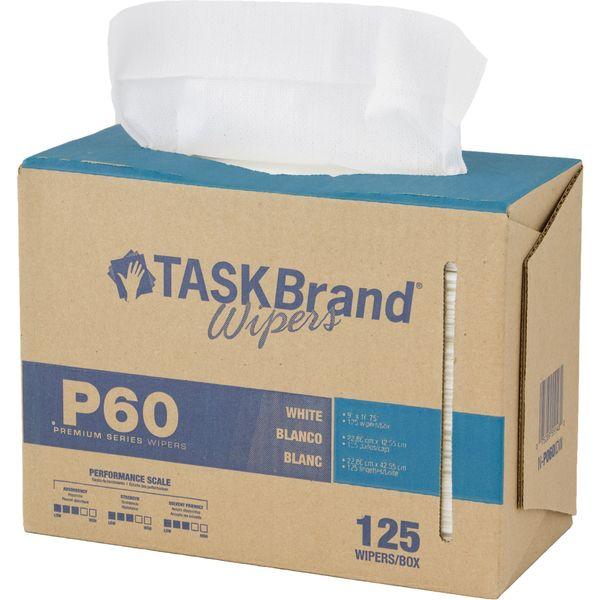 "JM635 TaskBrand® P60 Premium Series Wipers Length 16-3/4"" x Width 9"" WHITE Low lint HOSPECO #N-P060IDW 125/BX"