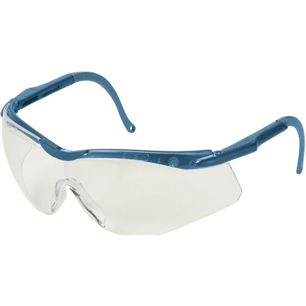 SAK191 Safety Glasses, SPORTY WRAP-AROUND North® N-Vision Clear lens, Blue Frame Elasto LT Chemical-Resistant 4A coating, Anti-fog/Scratch/Static/UV HONEYWELL #T56505BL