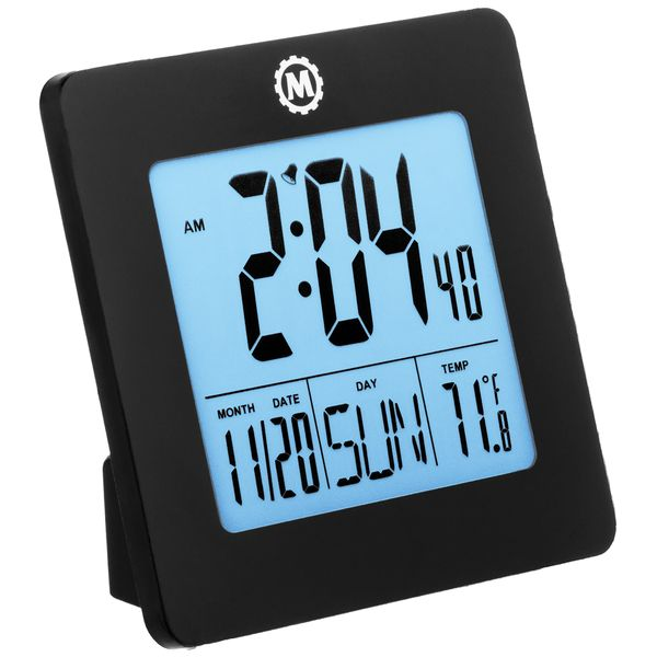 "OP595 Mobile Desktop Clock Digital Battery Operated 1xAA 3.6"" W x 1.5"" D x 3.6"" H Plastic Case #CL030050BK MARATHON"
