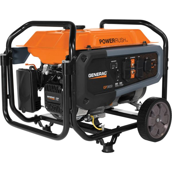 "XH539 Series 3600 Portable Generator 21-1/3""H x 22-1/2""W x 24""D Fuel Capacity 3.7gal. Surge Power 4500W Voltage Output 120V #7677 GENERAC GP"