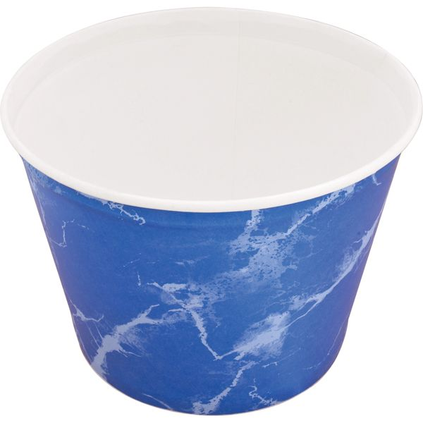 OK094 Bucket, Unwaxed - Paper 53oz White Inside/Blue Outside Disposable Food Bucket Store, Insulate, Transport, Food & Drink.