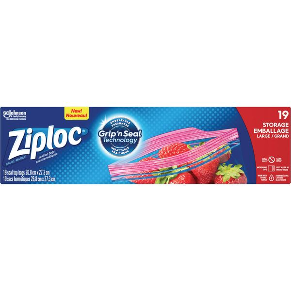 "JM313 Ziploc® Storage Bags Press & Seal Length 10-1/2"" x Width 10-1/2"" 19 or 38/Box"