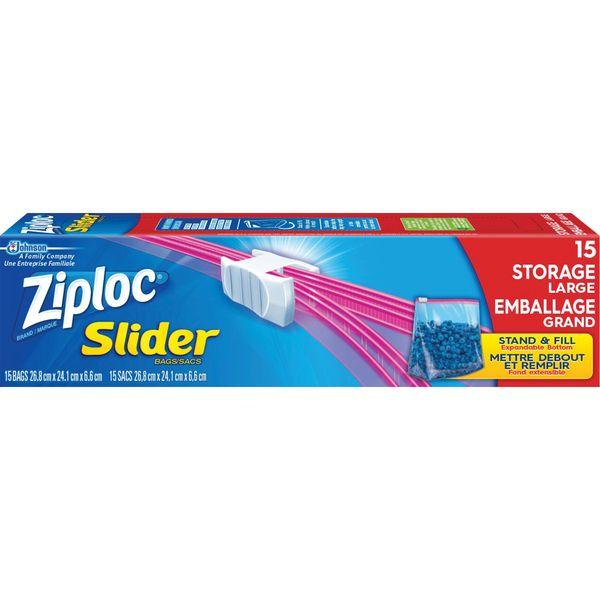 JM421 Ziploc® Slider Freezer Bags Zipper Length 26.8 cm x Width 24.1 cm 15/Box Size Large