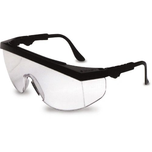 SE588 1PEICE SIDE-SHIELD ADJ. TEMPLE CLEAR LENS/BLACK FRAME #TK110 TOMAHAWK