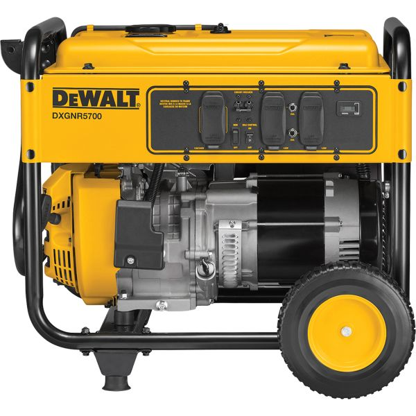 "**DISCONTINUED** XI285 Commercial Electric-Start Generator 120 V/240 V Fuel Tank 6.7gal Surge 5700W 25-7/10""Hx27""Wx 27-1/5""D #PMC165700.01 DEWALT"
