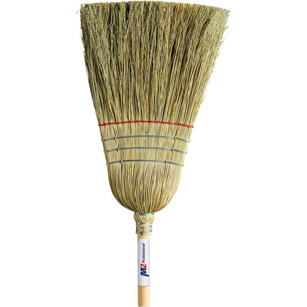 """JM716 (JB980) Corn Broom, Heavy Duty Industrial Outdoor, 1-String 3-Wire (Extra stiff Sweep Action Cane Centre) 1-1/8""""Th Handle M2 PROFESSIONAL #BC-110"""