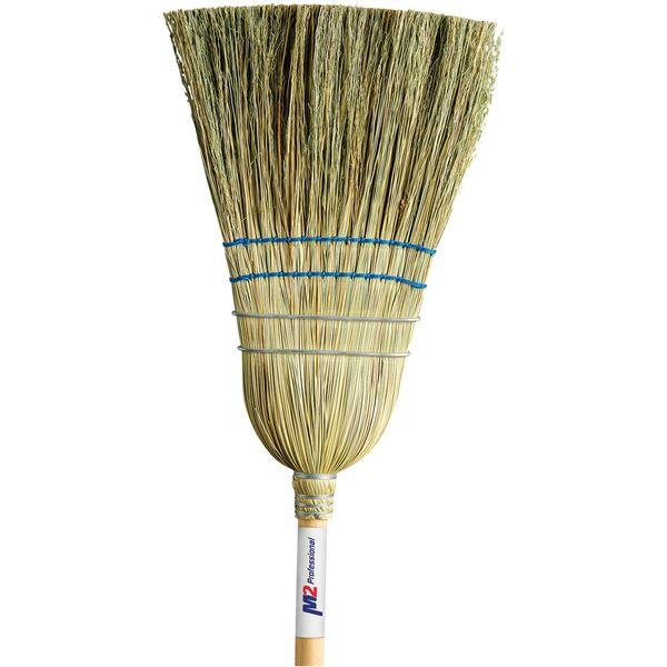 "JM715 (JB978) Corn Broom, Med-Heavy Duty Indoor/Outdoor 2-String 2-Wire Corn-Yucca fibre Blend 1-1/8""Th Handle M2 PROFESSIONAL #BC-108"