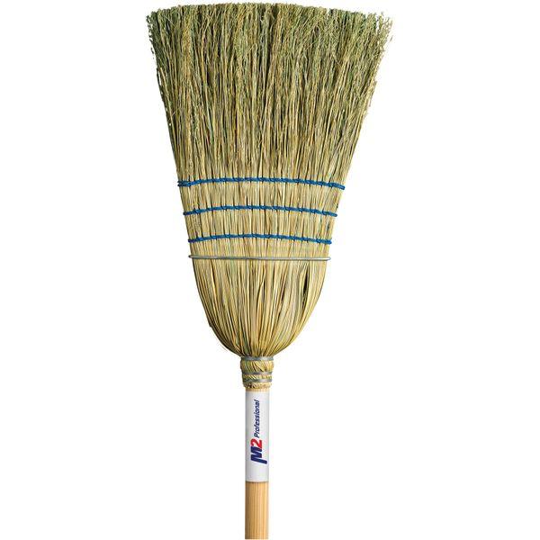 "JM714 (JB977) Corn Broom, Medium Duty Indoor/Outdoor 3-String 1-Wire 1-1/8""Th Handle M2 PROFESSIONAL #BC-107C"