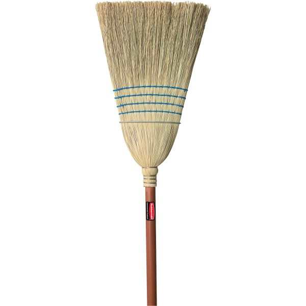"NC755 Corn Broom, Heavy-Duty Warehouse 4-String 1-Wire Industrial Broom 100% Corn 1-1/8""Th Handle #FG638300BLUE RUBBERMAID"