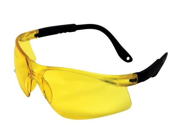 SAJ004 Safety Glasses, Yellow Tint Anti-Fog/Anti-Scratch Black Frame Impact-Resistant 99.9% UV #JS405 Jazz #7093200