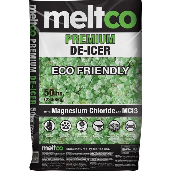 NO413 De-Icer, Premium Eco-Friendly Ice Melter MCi3 Economy Safe & Gentle Biodegradable Magnesium Chloride #8409055 MELTCO 50LB BAG